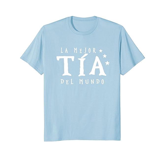Mens La Mejor Tia Del Mundo T-shirt Camiseta Regalo Para Tia 2XL Baby Blue