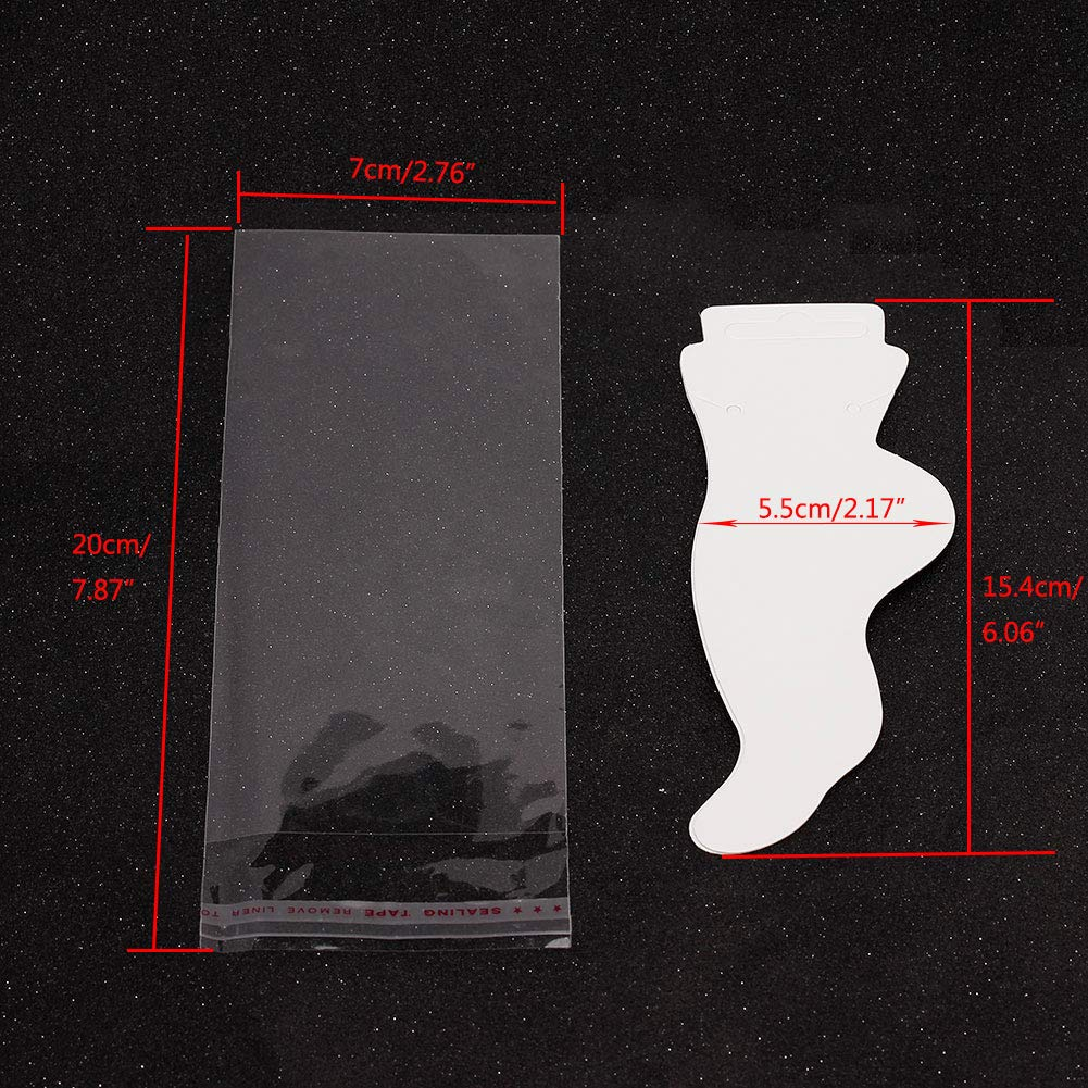Tiparts 100 Display Cards Set White Paper Anklet Necklace Jewelry Cards with 100 Pcs Self-Seal Bags