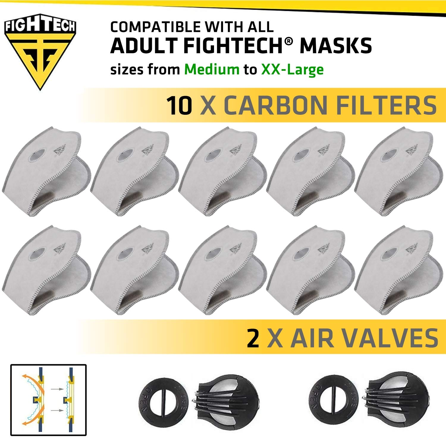 10 Carbon N99 PM2.5 Filters and 2 Valves for Fightech Dust Mask   Pack of Air Filters for Face Mask for Dust   With Safety Goggles Fogging Up Protection (ADULT) by FIGHTECH