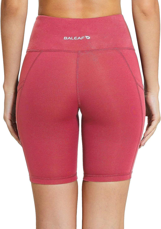 ejercicios de compresi/ón correr bolsillos laterales cintura alta BALEAF Pantalones cortos de compresi/ón para mujer para yoga tama/ño regular//grande