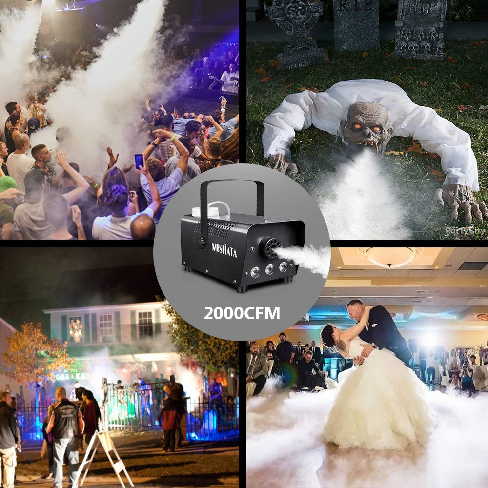 Halloween Fog Machine - MOSFiATA 500W Professional Multi-color Smoke Machine with 3 LED Lights ON/OFF and Wireless Remote Control, 2000 CFM Huge Fog for Holidays Parties Weddings Stages etc.
