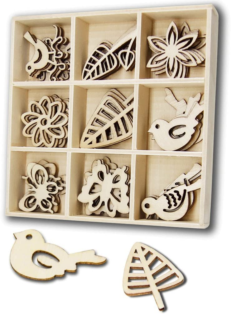 Prettyia 16x MDF Wooden Shapes Crafts Embellishments Scrapbooking Wood Art