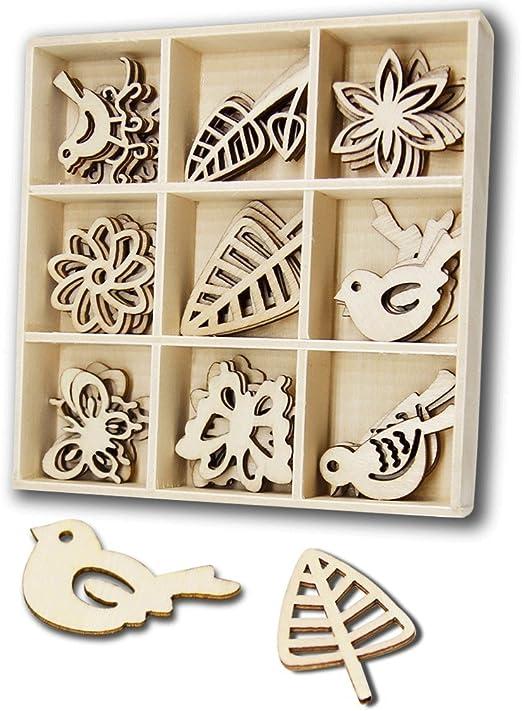 Bache60 10 Pcs Leaves Shape Wood Slices L/áser Cut Wood Embellishment Wooden DIY Craft Home Decorative Wedding Decor