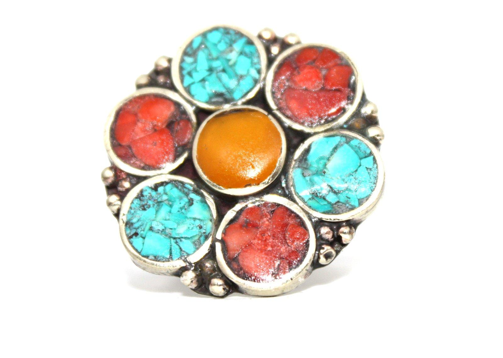 Amber Coral Turquoise Ring, Tibetan Ring, Nepal Ring, Gypsy Ring, Boho Ring (7.5)
