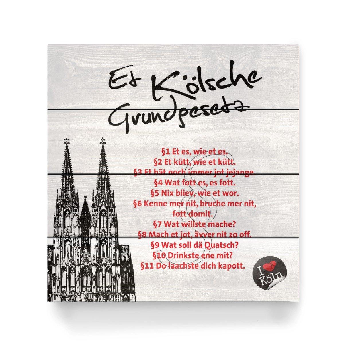 ArtboxONE Holzbild 40x40 cm Städte/Köln ET KÖLSCHE GRUNDGESETZ weiß von Künstler KoenigReich