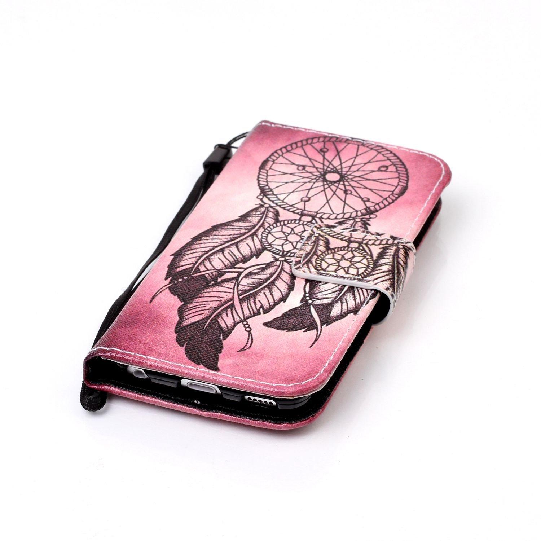 de ikasus/® con pintura multicolor iPod Touch 5/G de silicona suave cierre magn/ético de piel tipo flip slim fit con funci/ón atril y tarjetero  Lila Schmetterlings Funda para iPod 6G