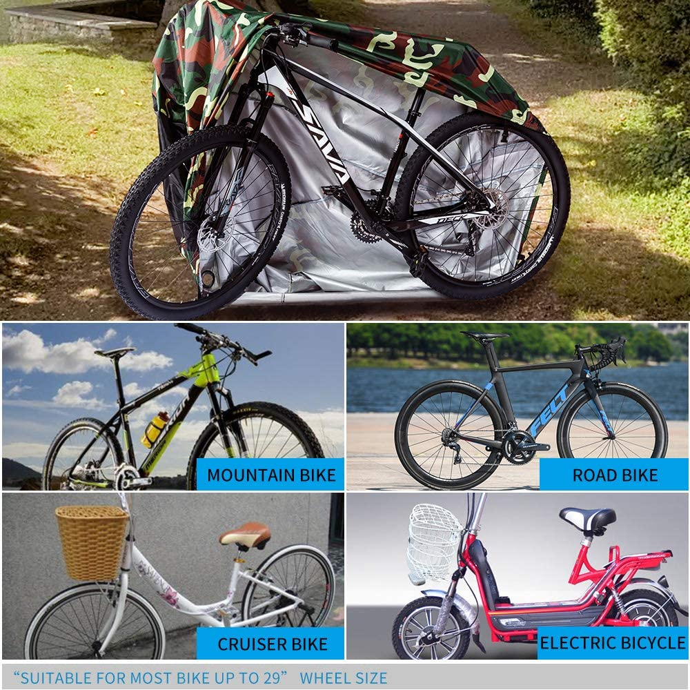 Puroma Bike Cover 210D Outdoor Waterproof Bicycle Covers Rain Sun UV Dust Wind Proof with Lock Hole Ideal for Mountain Road Electric Bike XL