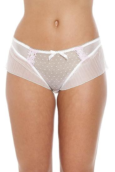 e23ee215f2 Camille Womens Ladies Underwear Diamond Lace Mesh Boxer Shorts Pink Briefs  4-14 4