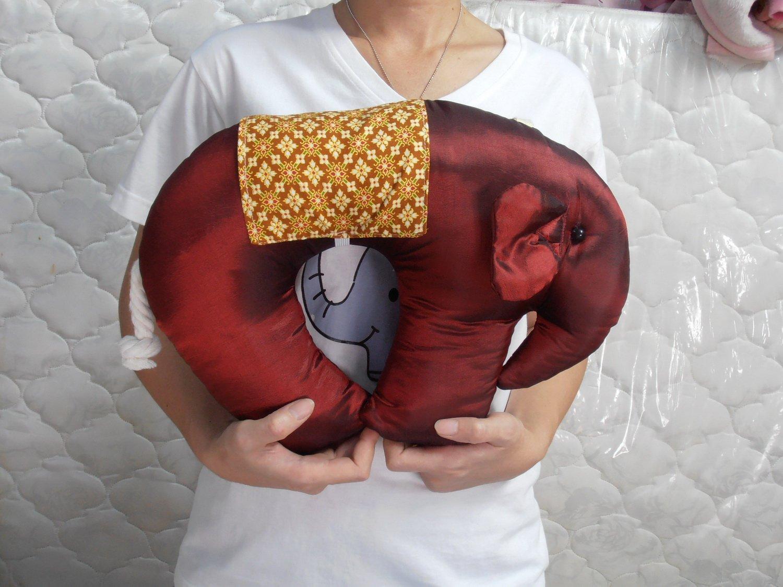 Herbal Odor Neck Pillow Elephant Style Cotton Tea Smell, Crimson