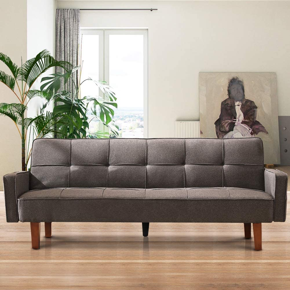 Modern Futon Sofa, Linen Couch Living Room Furniture,Upholstered, Eucalyptus Frame, Memory Foam, Easy to Clean, Assembly, Sense of Design, Suitable for Simple Apartments(Gray)