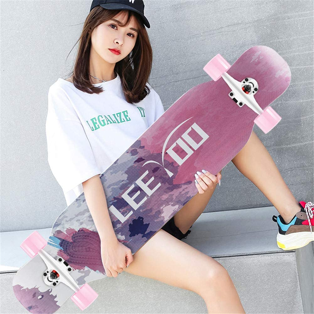 Carving Free-Style,Dance Board and Downhill Suitable for Boys and Girls,Black and White Freeride Skateboard Longboard 42 Inch Complete Skateboard Cruiser for Cruising