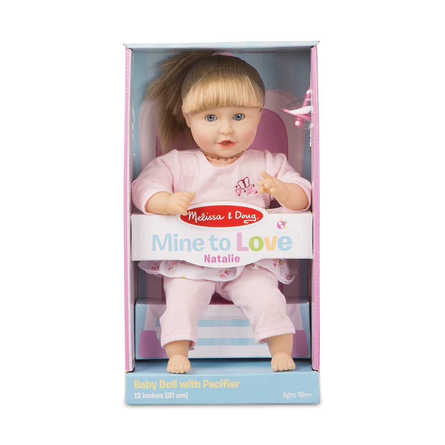 Melissa  Doug Mine to Love Natalie 12-Inch Soft Body Baby Doll With Hair and