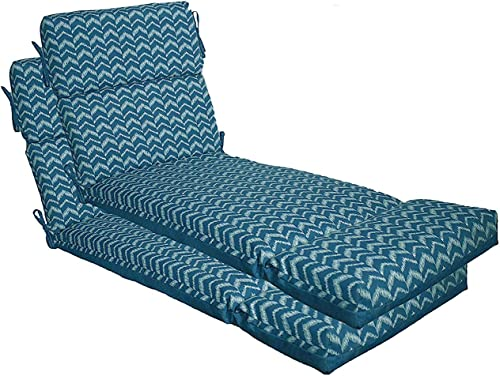 Comfort Classics Inc. Outdoor Blue Design Channeled Chaise Cushion Set of 2 23W x 73L x 4.5H