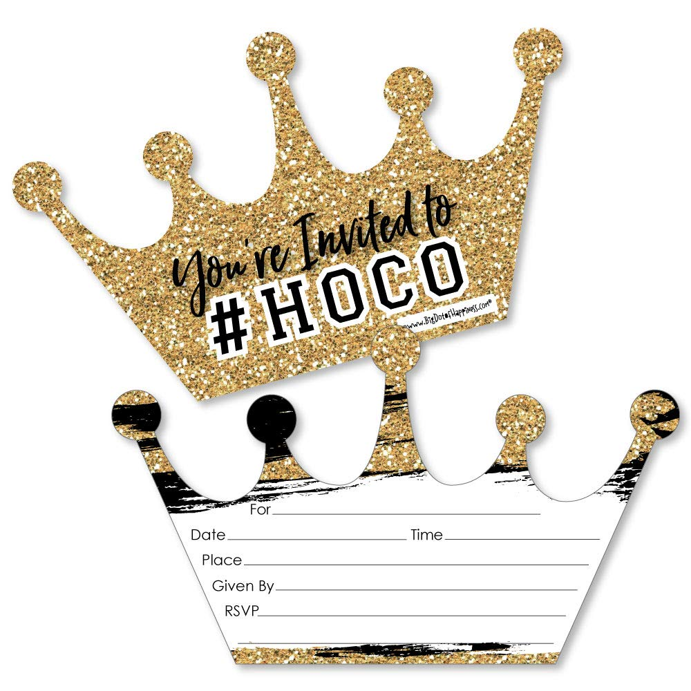 HOCO Dance - Shaped Fill-in Invitations - Homecoming Invitation Cards with Envelopes - Set of 12