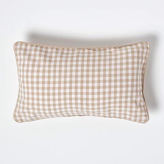 Homescapes – Funda de cojín Vichy beige – 100% algodón – 30 x 50 ...