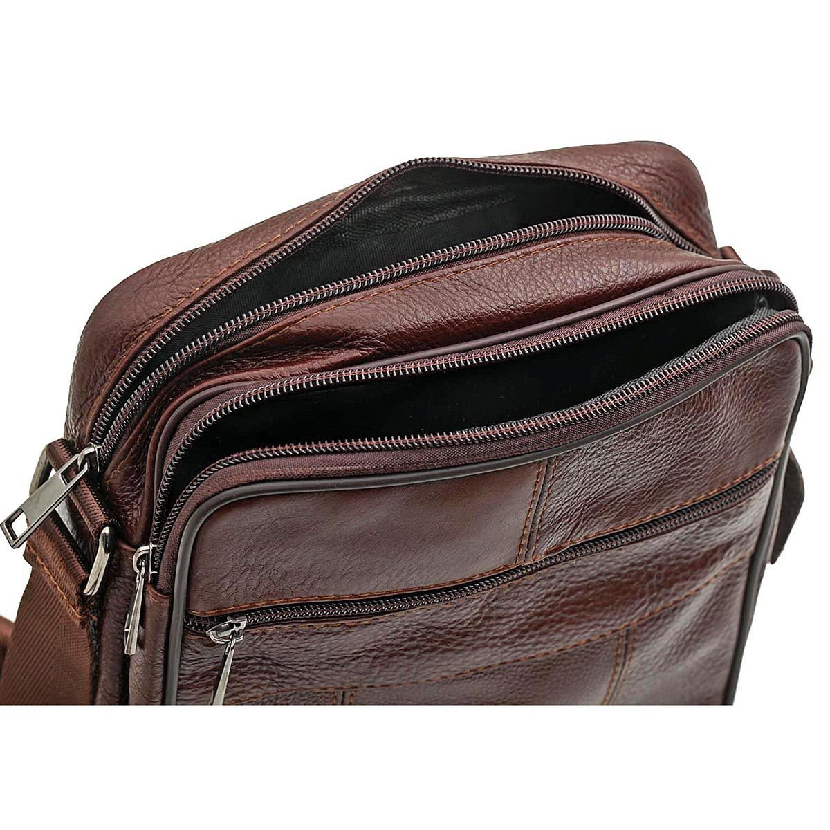 Small Genuine Leather Cross Body Messenger Bags Satchel Shoulder Bag for Men Brown