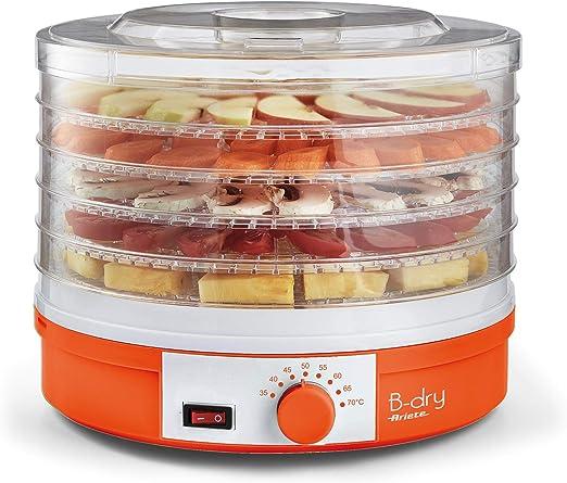 Ariete 616 B-Dry Trockner und Austrockner Lebensmittelfutter f/ür Obst und Gem/üse Temperatur 35/°C bis 70/°C 5 herausnehmbare K/örbe Kunststoff Arancione 245 W