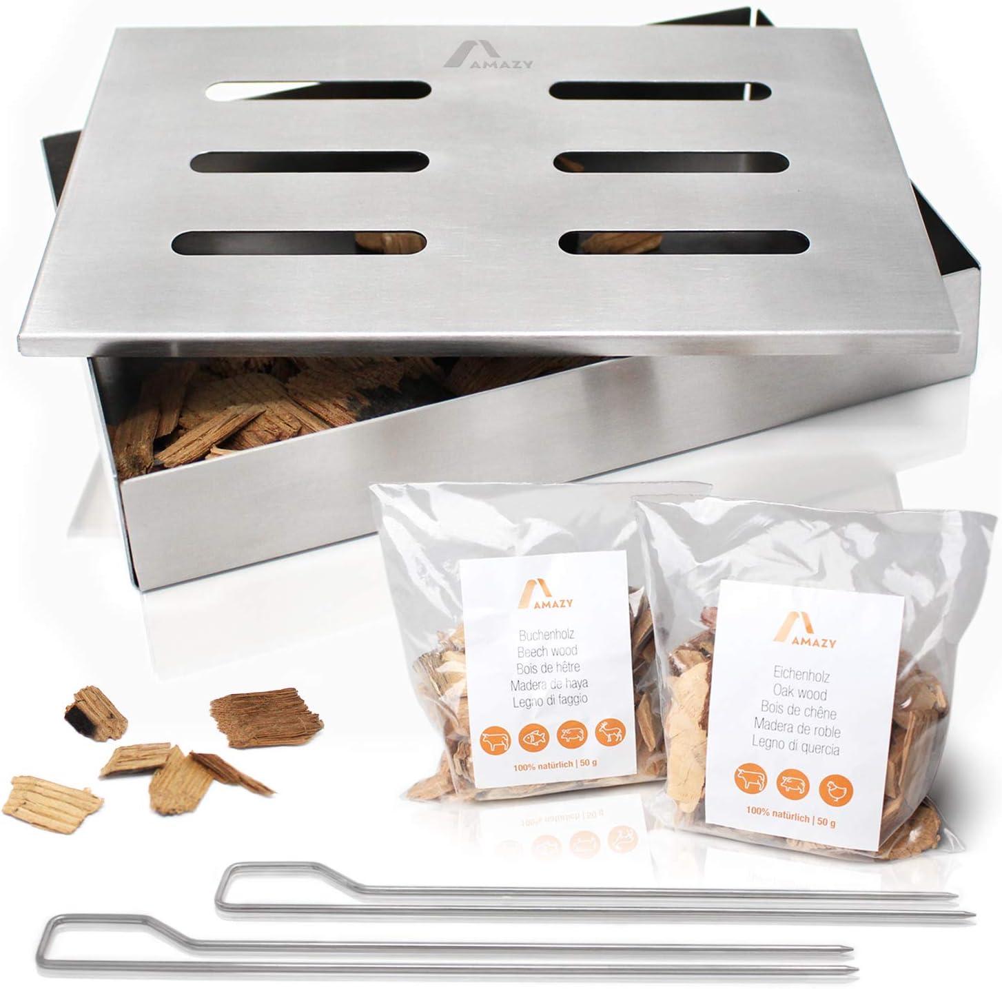 Amazy Caja ahumadora + 2 brochetas + 2 tipos de virutas de madera (haya y roble) – Caja de ahumado para carne o pescado apta para lavavajillas