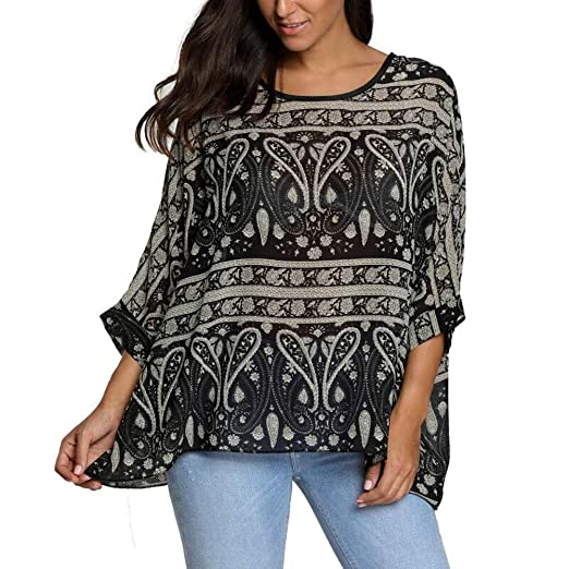 d813291a8f Wiwish Women's Florals Batwing Sleeve Button Back Chiffon Beach Loose  Blouse Tunic Tops,One Size