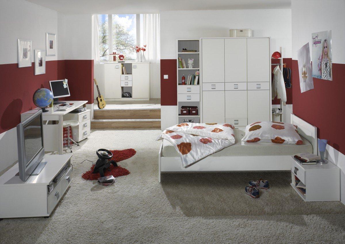 Dreams4Home Jugendzimmer 'Vamo White', Kinderzimmer, Kinderschreibtisch, Schreibtisch, Kinderzimmerset, Einlegeböden:ohne Einlegeböden;Schubkastenkommode:ohne Schubkästen