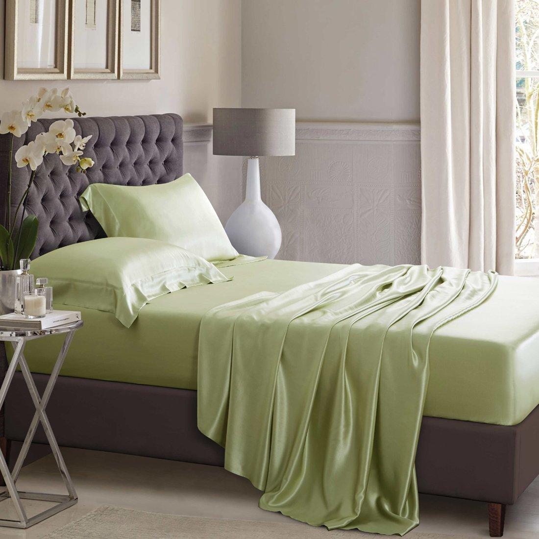 ELLESILK Sage Green Pure Silk Sheet Set, 25 Momme Seamless Mulberry Silk, Hypoallergenic, King Size