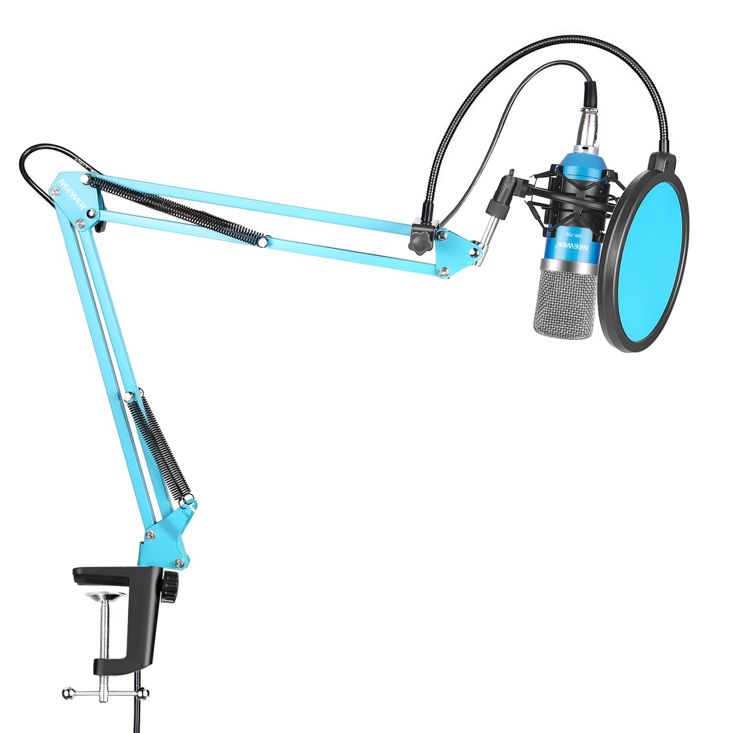 Neewer Professional Studio Condenser Microphone Kit for Computer Studio Broadcasting Recording, Includes NW-700 Microphone (Blue), Black Suspension Boom Scissor Arm Stand, Shock Mount and Pop Filter by Neewer