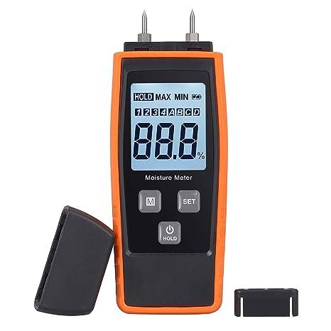 Medidor de Humedad Digital Madera Medidor Portátil Humidímetros Humedad Medición con Gran Pantalla LCD con Luz