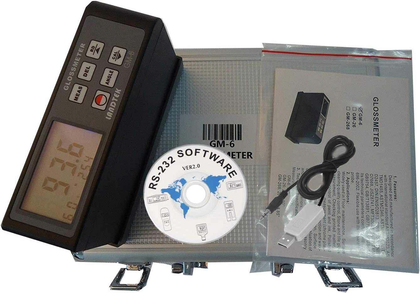 HFBTE GM-6 60 Degree Gloss Meter Single Angle Glossmeter with USB Data Cable and Software Data Memory Function