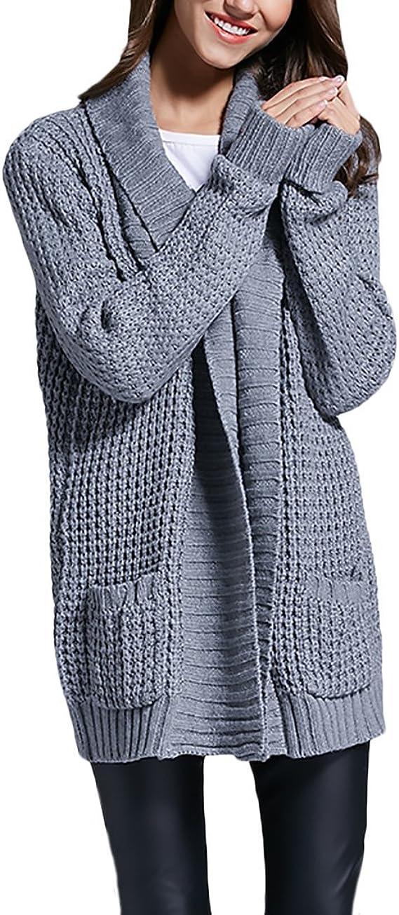 Donna Cardigan maglia giacca manica lunga