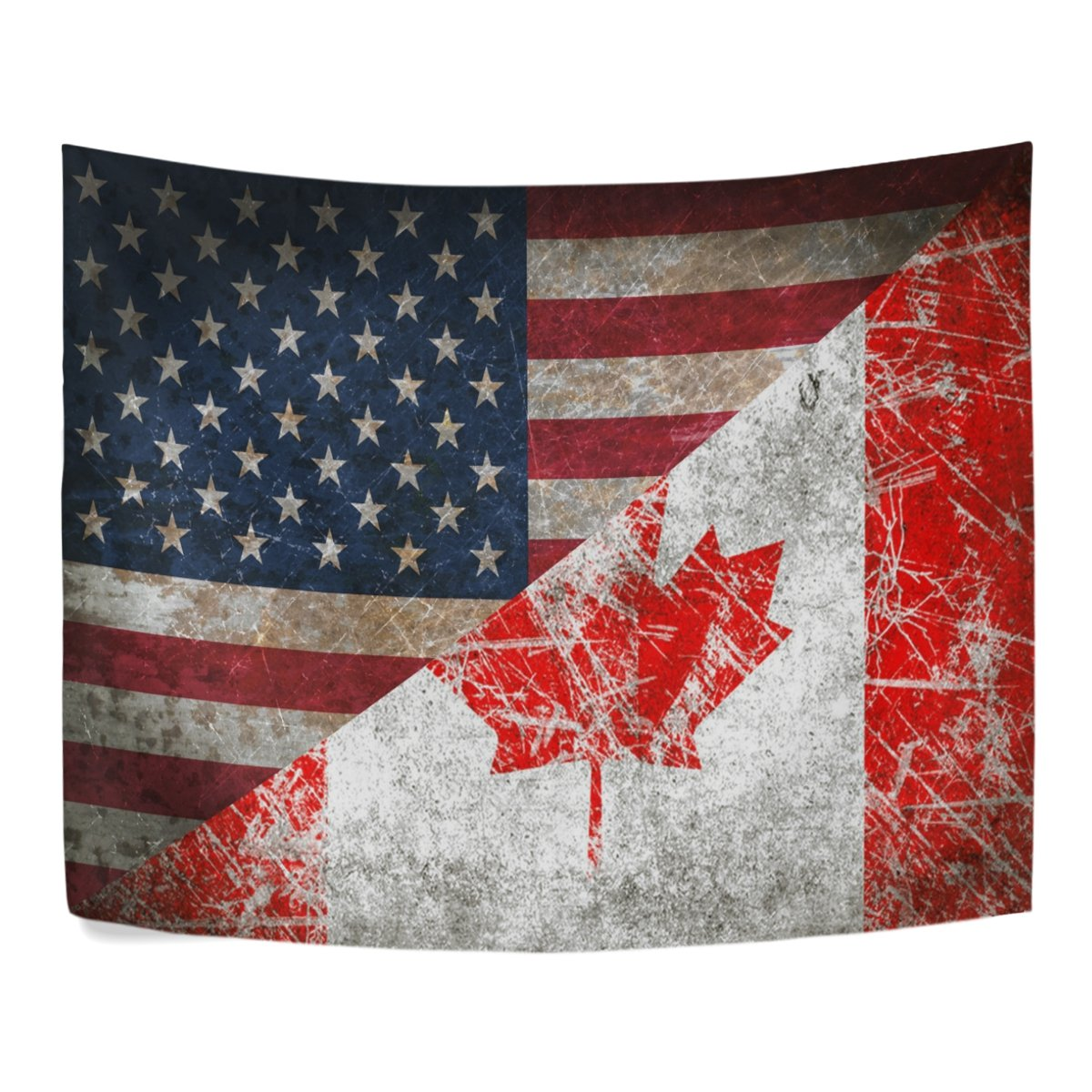 Retro Maple Leaf Canada and America Flag Friendship Combination Polyester House Tapestries Room Décor 90x60 Inch Style Decorative Wall Blanket