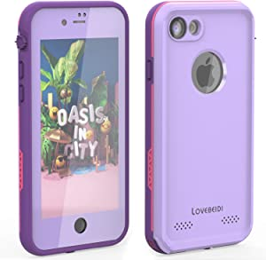 """LOVE BEIDI iPhone 8 7 Waterproof Case Cover Built-in Screen Protector Fully Sealed Life Shockproof Snowproof Underwater Protective Cases for iPhone 8 7-4.7"""" (Purple/Rose/Orchid)"""