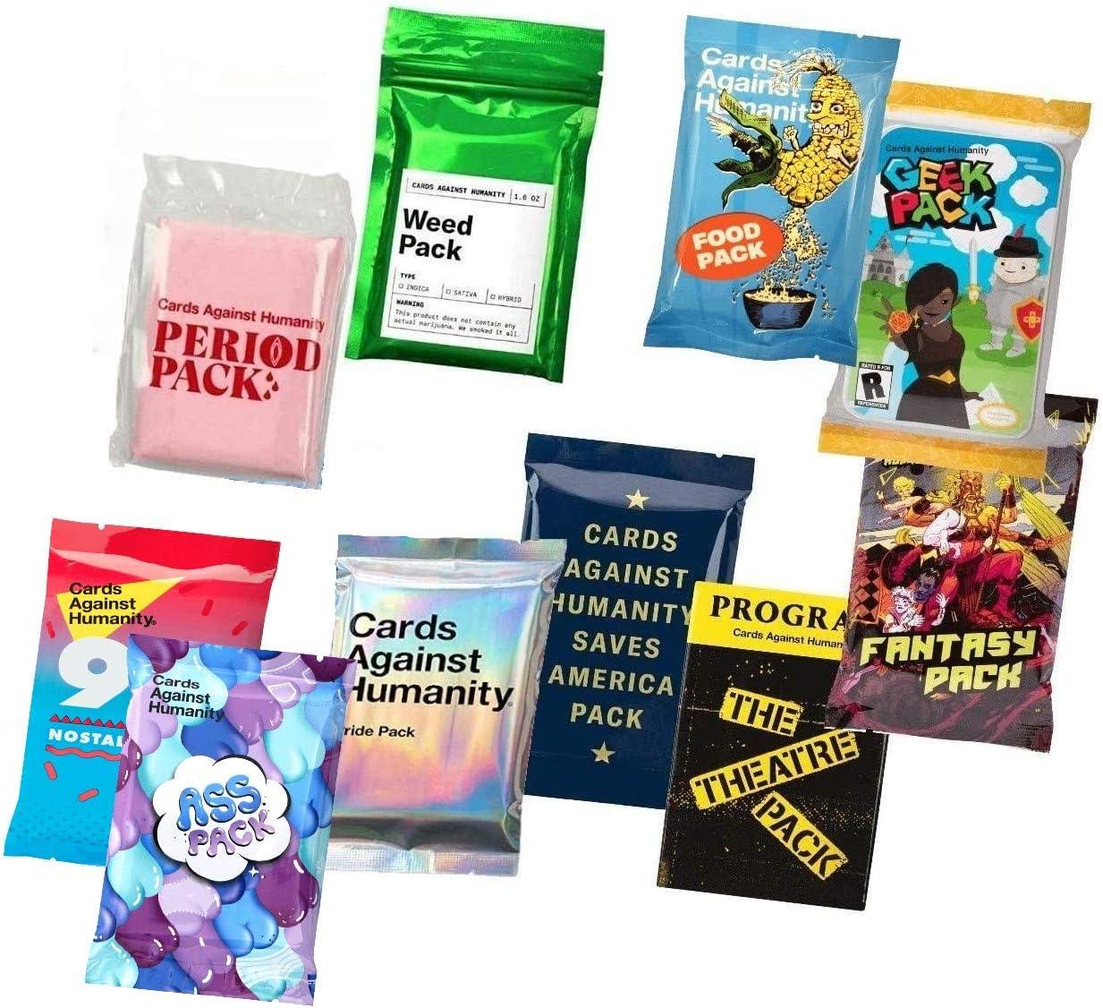 Cards Against Humanity 10 Paquetes de maleza y periodo & Pride & Food & Judío & Save America & Theatre & Fantasy & Geek & 90 Nostalgia: Amazon.es: Juguetes y juegos