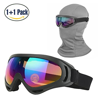 Balaclava & Ski Goggles Sets, Ultralight Balaclava Face Mask Windproof Ski Hood + UV400 Protection Anti-fog Ski Goggles for Cycling Biking Ski and Snowboard