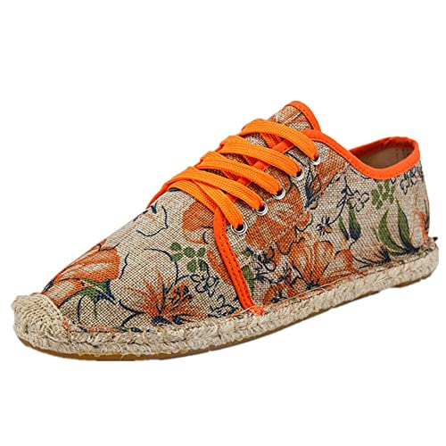 Estilo Chino Lino Espadrilles Zapatos con Cordones Lona Naranja Alpargatas para Hombre: Amazon.es: Zapatos y complementos