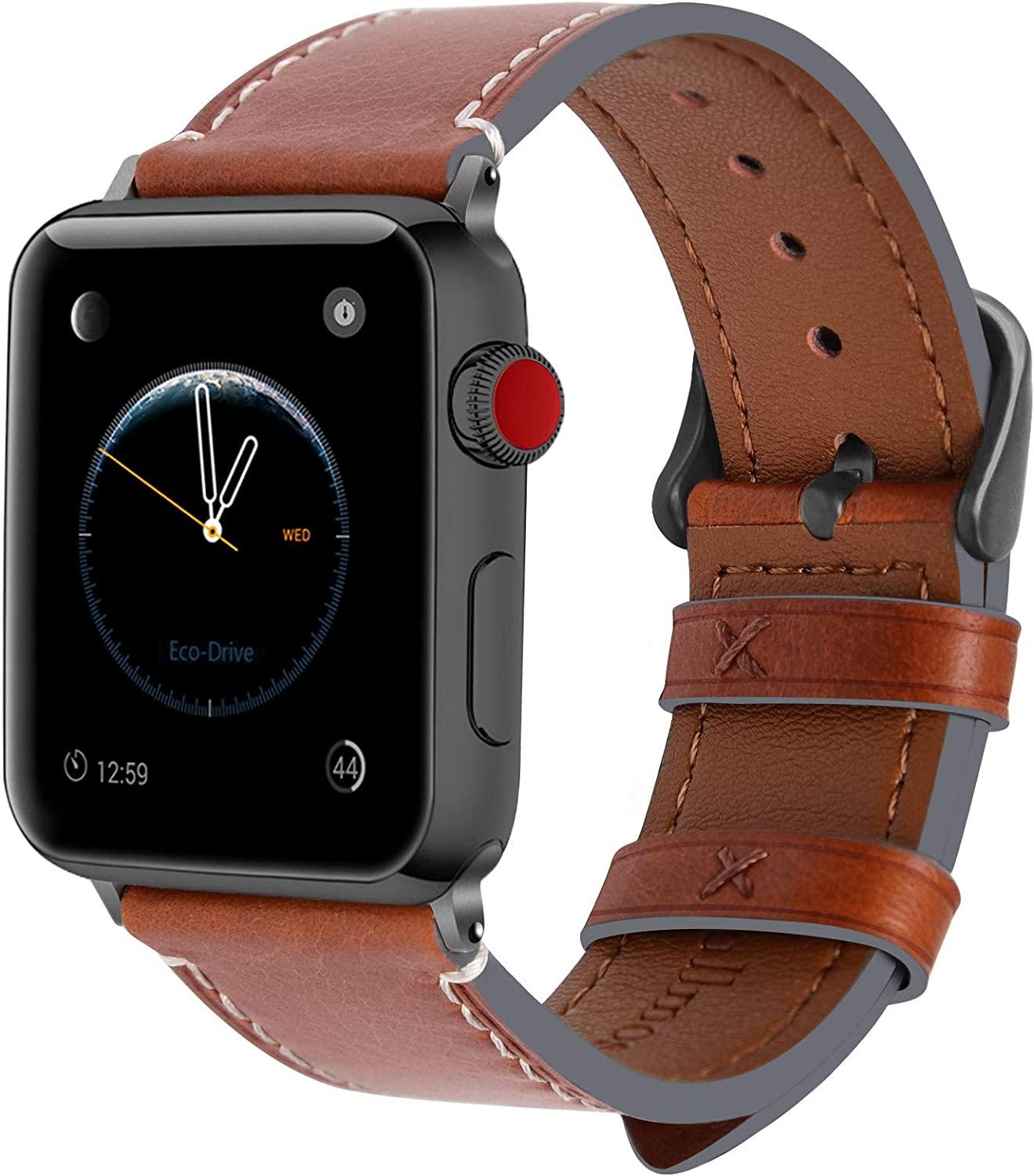 Fullmosa Compatible Apple Watch Band 44mm 42mm 40mm 38mm Leather for iWatch SE & Series 6/5/4/3/2/1, 42mm 44mm Dark Brown + Smoky Grey Buckle