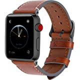 Fullmosa Leather Watch Bands Compatible for Apple Watch 38mm 40mm 42mm 44mm, Men's and Women's Watch Strap for iWatch…