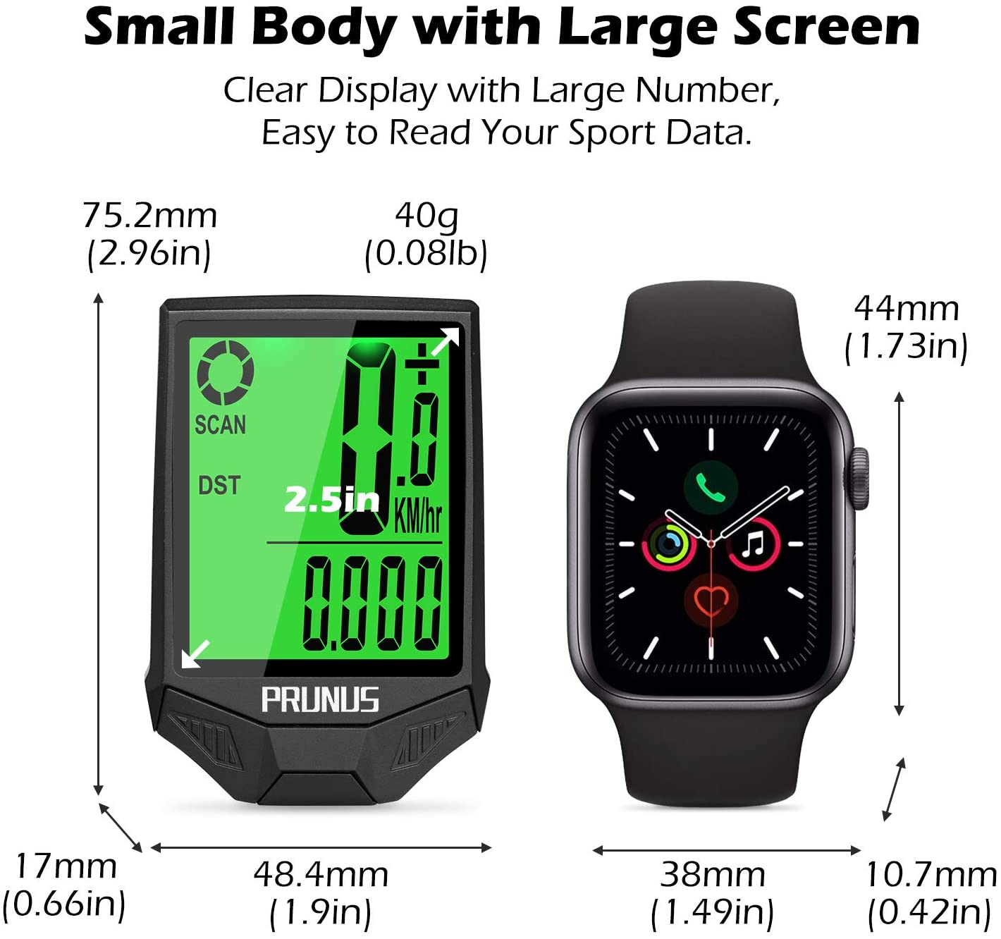PRUNUS Bike Speedometer and Odometer Wireless Waterproof Bicycle Computer with Digital LCD Display Automatic Wake-up and Calorie Counter for Outdoor MTB Road Cycling and Fitness