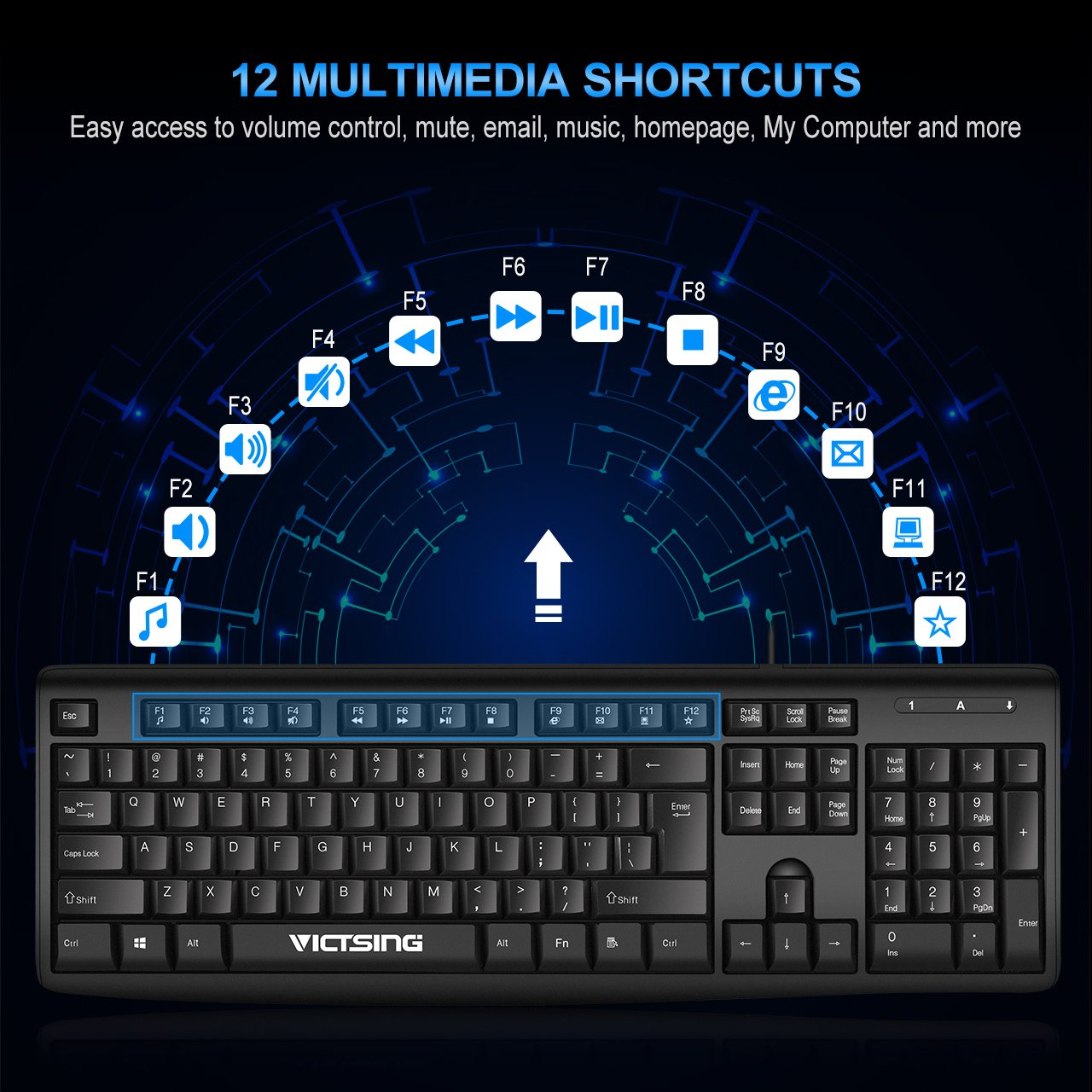 VicTsing Spill-Resistant Wired Keyboard, Computer USB Keyboard with 5 Feet USB Cable and Foldable Stands, Support Windows 10/8/7/Vista/XP, Mac, Linux, Black by VicTsing (Image #3)