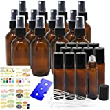 Jalousie 24 Pack Amber Refillable Glass Containers include 12 Amber Glass Spray Bottles 2oz 60 ml and 12 Amber Eye Roller Bottles 0.34 oz 10 ml Bonus Stickers Dropper and Bottle Opener