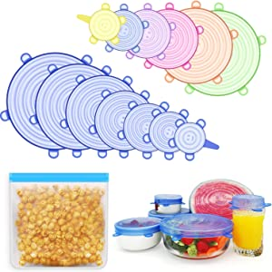 Silicone Stretch Lids,13Pcs Reusable Durable Food Storage Covers for Bowls(Include 1 Exclusive XL Size up to 9.8'')+A Bag, Fit Various Sizes of Containers Food Covers or Bowl Covers To Keep Food Fresh