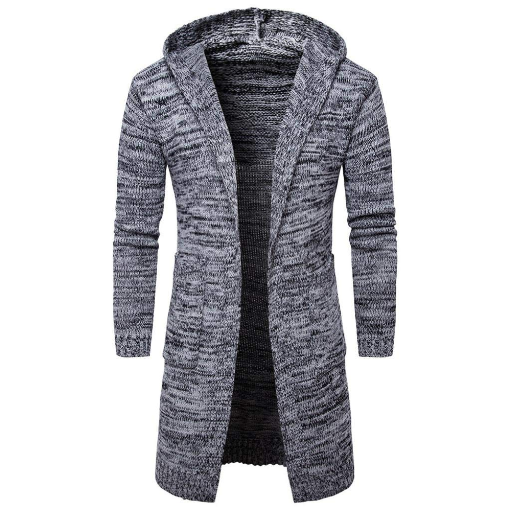 BHYDRY Fashion Mens Slim Fit Hooded Knit Sweater Fashion Cardigan Long Trench Coat Cotton Jacket Solid Tops