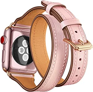 Maxjoy Compatible with Apple Watch Band, 38mm 40mm Watch Bands Leather Strap Soft Replacement Wristband with Metal Clasp Slim Bracelet Compatible with Apple iWatch Series 4 3 2 1 Sport Edition, Pink