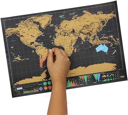 Mapa de rascar del mundo pequeño, mapa del mundo para viajes con tubo de transporte, mapa de rascar de lujo, póster divertido y colorido para rayar, negro y dorado: Amazon.es: Oficina y