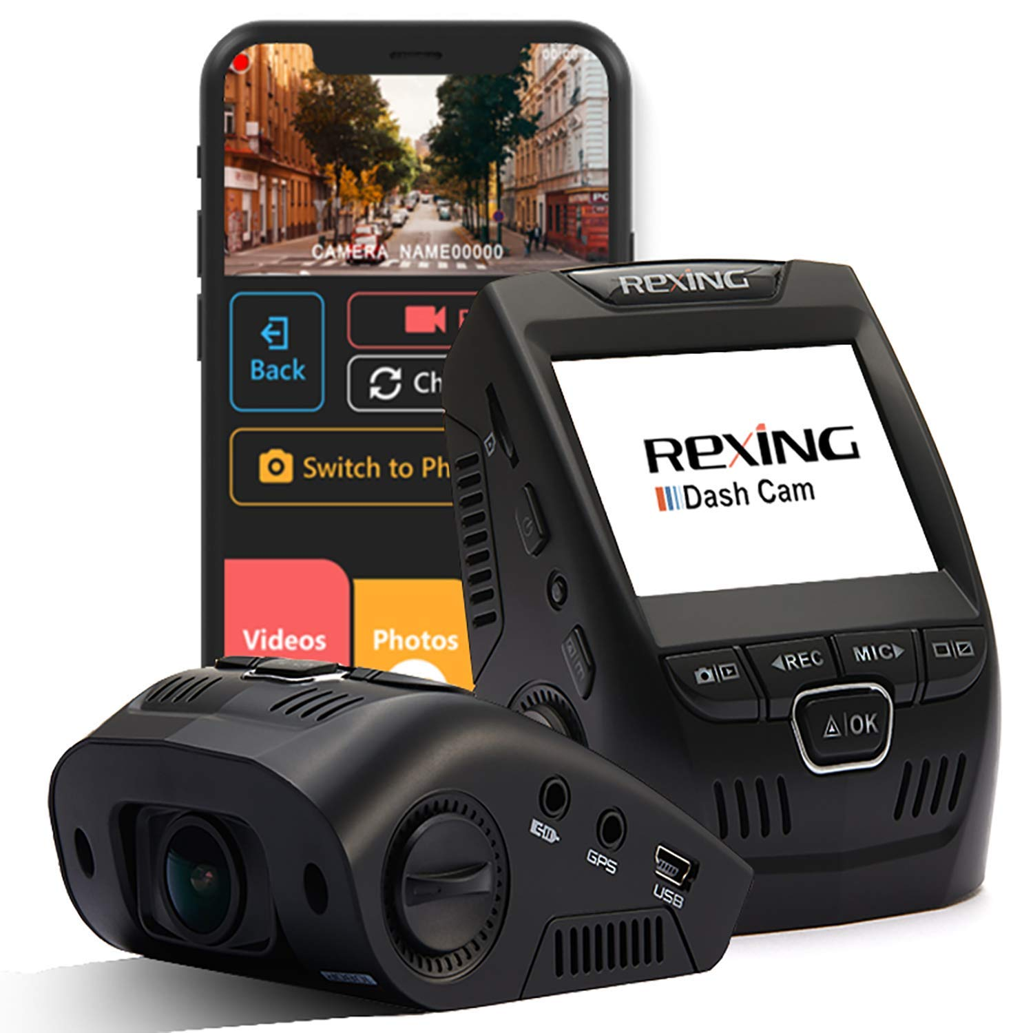 Rexing V1 Wi-Fi Car Dash Cam 2.4'' LCD FHD 1080p 170° Wide Angle Dashboard Camera Recorder with G-Sensor, WDR, Loop Recording, Supercapacitor, Mobile App by REXING