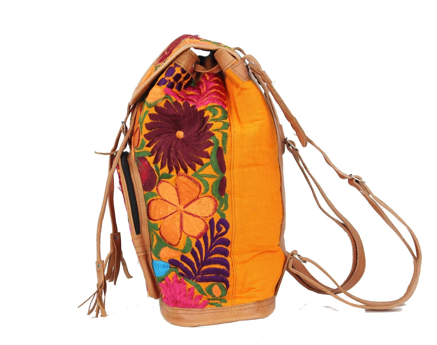 Amazon.com: Boho Backpack - Mexican Leather Embroidered Backpack - Hippie Backpack - Mochilas de mujer de moda - Orange: Handmade