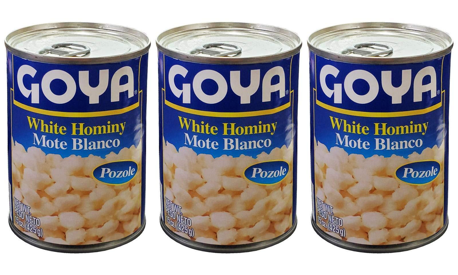 Goya White Hominy Corn, 15 oz, (3 cans) Mote Blanco - Pozole