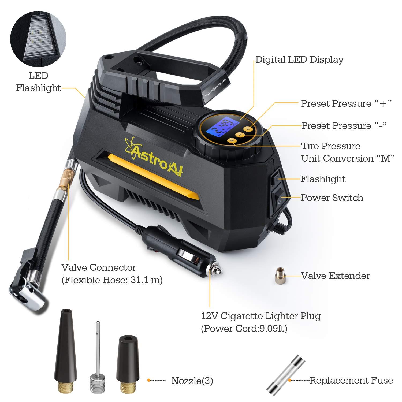 Digital LCD /Écran AstroAI Compresseur Voiture 12V Portable Gonfleur Pneus Voiture /Électrique 10 Bar avec 2 Fa/çons de Visser /& Clipser lEmbout sur la Valve Fusible LED Lampe 3 Embouts de Rechange