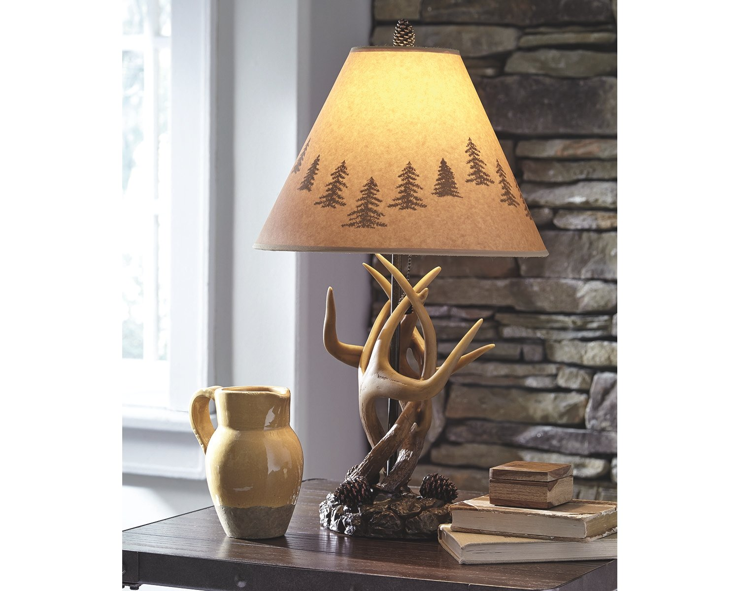 Ashley Furniture Signature Design - Derek Antler Table Lamps - Mountain Style Shades - Set of 2 - Natural Finish by Signature Design by Ashley (Image #2)