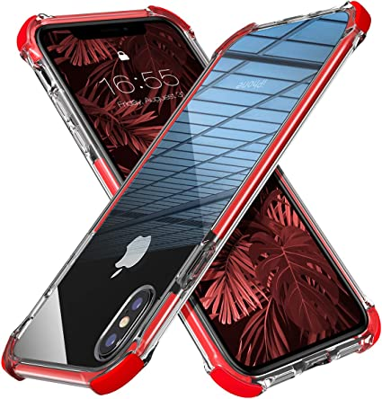 Amazon Com Mateprox Iphone Xs Max Case Clear Hybrid Tpu Hard Cover With Thin Shockproof Bumper Protective Case For Iphone Xs Max 6 5 Red
