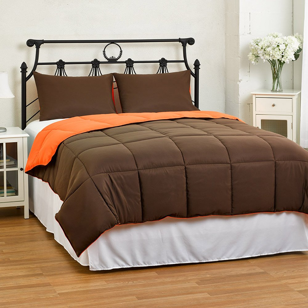 Cozy Beddings Reversible Down Alternative 3 Piece Comforter Set, Full/Queen, Brown/Orange
